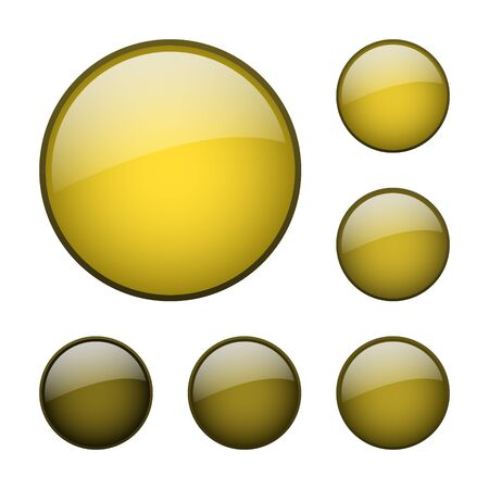 set of vector yellow rounded glass buttons