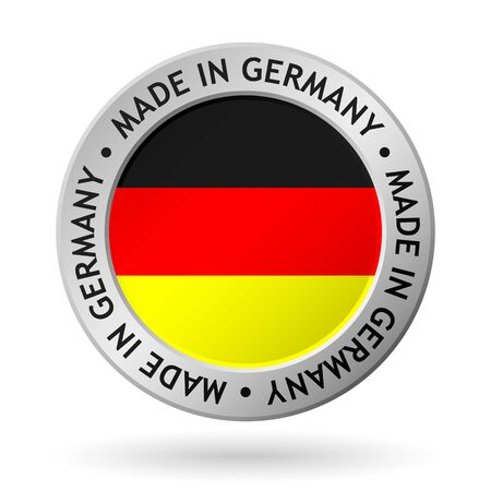vector silver sign with flag of the germany and sign made in germany Stock Illustratie