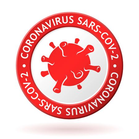 vector red medal with coronavirus sign and icon