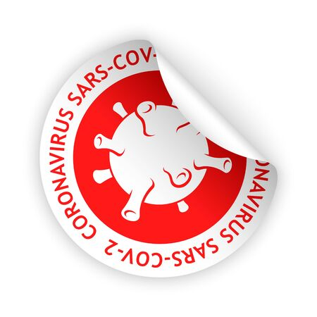 vector red sticker with coronavirus sign and icon