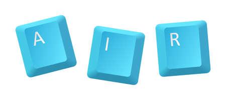 vector blue air key inscription