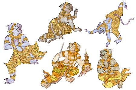 mural: Hanuman, Thai mural painting character