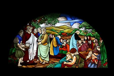 catholic stained glass: Catholic stained glass at Santa Cruz church, Bangkok, Thailand