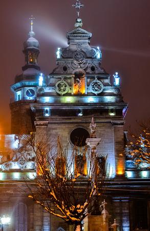 lviv: Lviv city lights St. Michael church Stock Photo