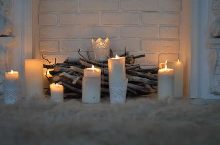 fire place: fire place with candles Stock Photo
