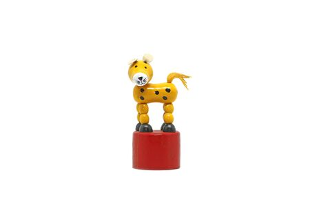 yellow tigers: Wooden tiger toy on white background Stock Photo