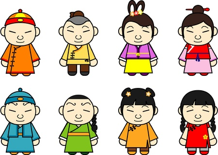 green dress: Chinese cartoon character set