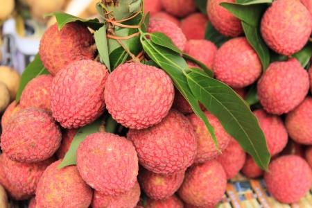 asian produce: Lychee; Thai Exotic Fruit of Thailand Stock Photo