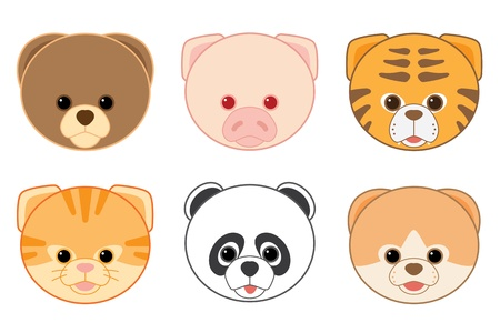 Cartoon Animal Head Icons Collection  Vector