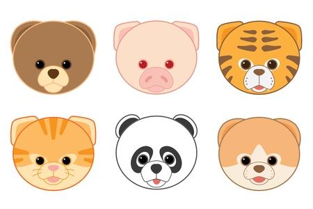 Cartoon Animal Head Icons Collection Stock Vector - 21380926