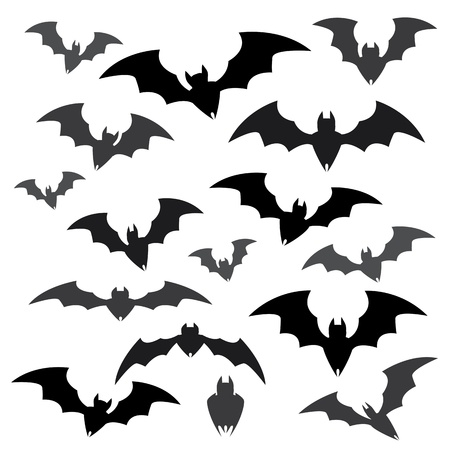 cat s: Bats and Halloween Icon Sets Illustration