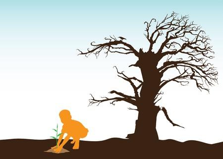 deforestation: Boy Is Saving the Environment Illustration