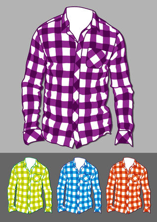 Long Sleeve Checked Shirts - Illustration