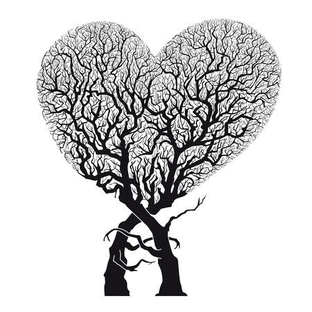Heart Abstract Tree � Roots Woven into Heart Shape - Vector   Illustration Vector