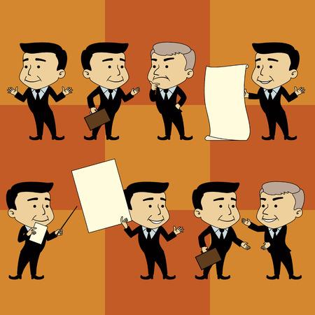 postures: Set of Businessman Characters Making Postures