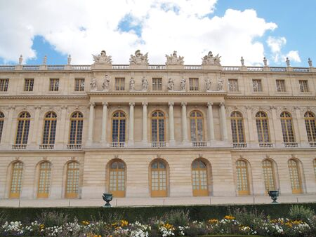 frontage: Castle of Versaille frontage with blue sky in the background , Landscape
