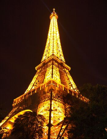 Eiffel Tower At Night at Paris in France , Europe on 18 September 2010
