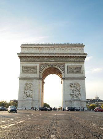 Triumphal arch with street , Napoleon Bonaparte at Paris France     photo