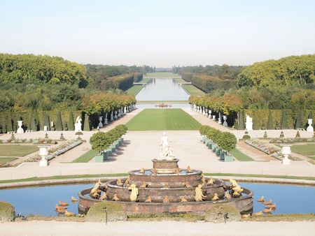 Decorative gardens with Park , spring , tree at Versailles in France   photo