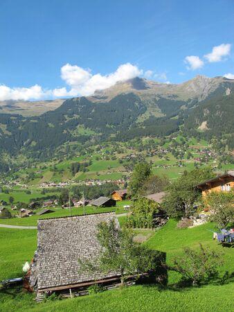 jungfraujoch: Swiss Culture with Hut at Jungefrau above Grindelwald, Switzerland Stock Photo