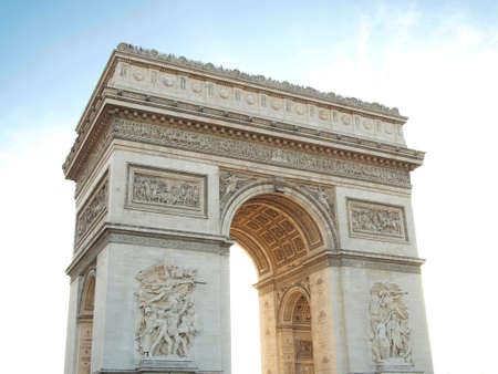 Triumphal arch , Napoleon Bonaparte with Blue sky in Paris France photo