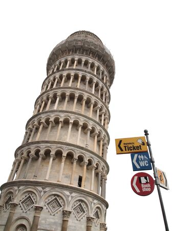 seem: The famous leaning tower of Pisa, the signs seem to be keeping it from collapsing. (Vertical)