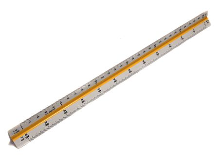 triangle objects: A measuring scale ruler isolated on white Background for Architect