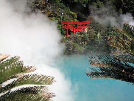 powszechnie: A torii is a traditional Japanese gate most commonly found at the entrance of or within a Shinto shrine at Beppu Japans onzen and Hot springs Japan.