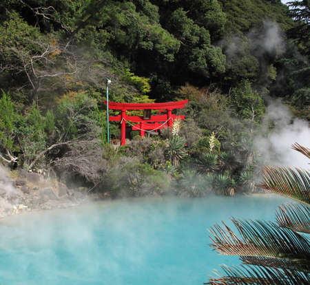 ooze: A torii is a traditional Japanese gate most commonly found at the entrance of or within a Shinto shrine at Beppu Japans onzen and Hot springs Japan
