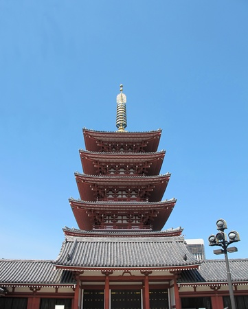 storied: Five storied Asakusa Pagoda in Tokyo with blue sky         Editorial