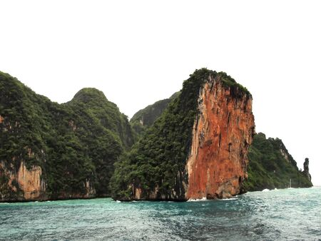 administratively: The Phi Phi Islands are located in Thailand , between the large island of Phuket and the western Andaman Sea coast of the mainland. The islands are administratively part of Krabi province in Thailand. Stock Photo
