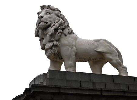 thames: Imposing lion statue guarding the south bank of the Thames River near the London Eye ferris wheel attraction in London , with isolated on white