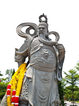 Stone Statue Of Guan Yu at Suphanburi province in Thailand. photo