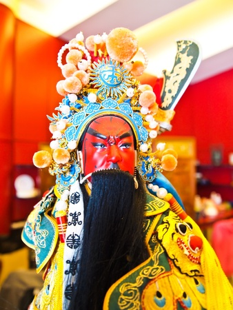 imagery: A Small Puppet of Guan Yu at Chinese temple in Suphanburi province ,Thailand.