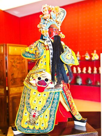 A Small Puppet of Guan Yu at Chinese temple in Suphanburi province ,Thailand.