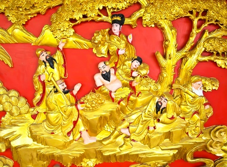 The Eight Immortals (ba xian) are a group of legendary god in Chinese mythology . photo