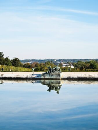 Reflection of blue sky with Statue at Palace Chateau de Versailles on water, France, UNESCO , Europe Stock Photo - 10105183