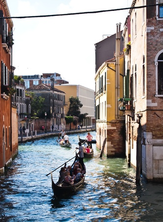 Street view of Venice in Italy , with gondola