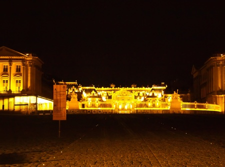frontage: In front of Castle of Versaille frontage at night in France , Europe Editorial