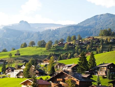 Swiss village view at Jungfrau in Switzerland , Europe