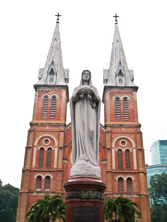 Notre Dame with Virgin Mary in front in Ho Chi Minh City, Vietnam  Stock Photo - 10416945