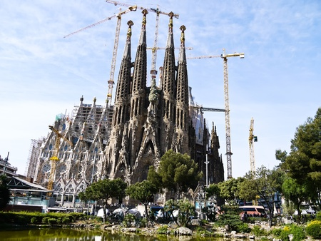BARCELONA, SPAIN - APRIL 15: La Sagrada Familia - the impressive cathedral designed by Gaudi, which is being build since 19 March 1882 and is not finished yet April 15, 2011 in Barcelona, Spain.