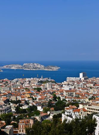 Aerial view of Marseille France and the If castle photo