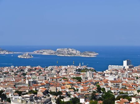view Port of Marseille France and the If castle photo