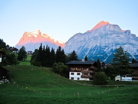 Village at Jungefrau above Grindelwald on Evening , Switzerland , Europe Imagens