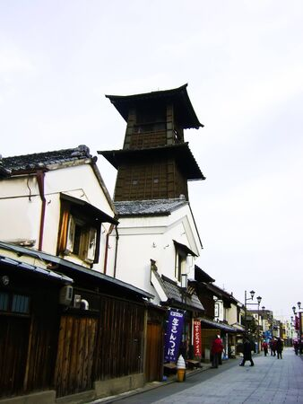 supposedly: KAWAGOE , JAPAN - February 3 , One of the most famous landmarks is the  Bell of Time  , a clock tower that is supposedly 350 years old in Kawagoe (Little Edo) city , Japan on February 3, 2009 in Kawagoe, Japan Editorial