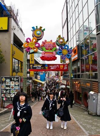 harajuku: TOKYO, JAPAN - April 15:Takeshita street at Harajuku is also a large shopping district and a fashion capital of the world, renowned for its unique street fashion , on April 15, 2010 in Tokyo, Japan Editorial