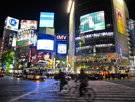 TOKYO, JAPAN - APRIL 14: Shibuya is one of Tokyos most colorful and busy districts, Japan ; on April 14, 2010 in Tokyo, Japan.