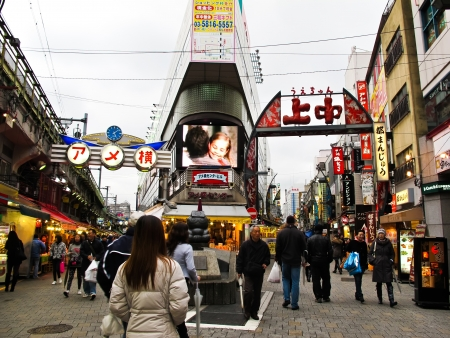 TOKYO, JAPAN - APRIL 15: Ameyoko is narrow market shopping street in Tokyo, Japan , The area is sometimes called Ameya Yokocho ; on April 15, 2010 in Ueno Tokyo, Japan.