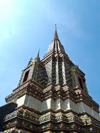 historical sites: Angle of stupa at Wat Phra Chetuphon Vimolmangklararm , Wat Pho, the oldest historical sites in Bangkok , Thailand and that Thailands tourism